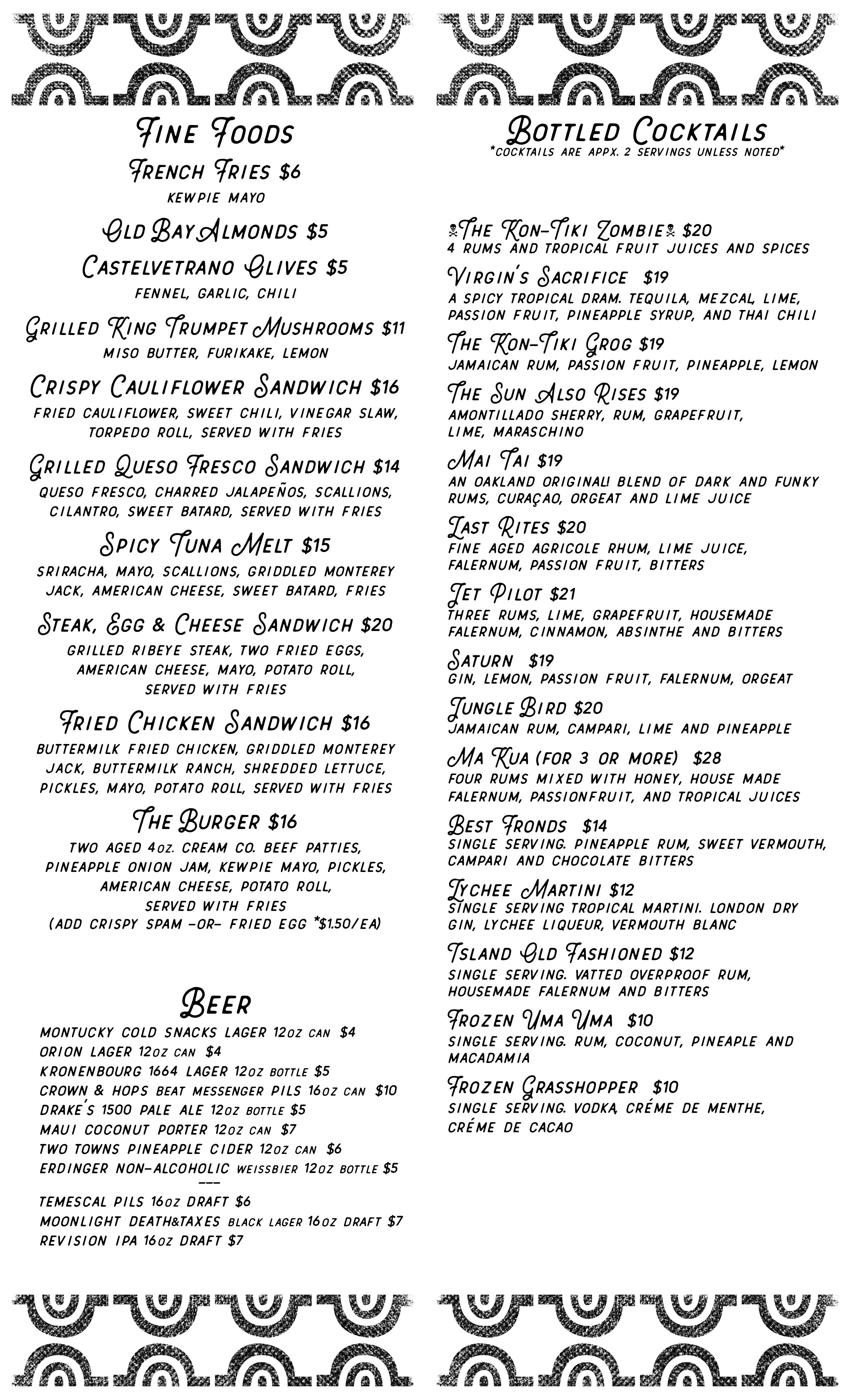 menu of togo food and drinks