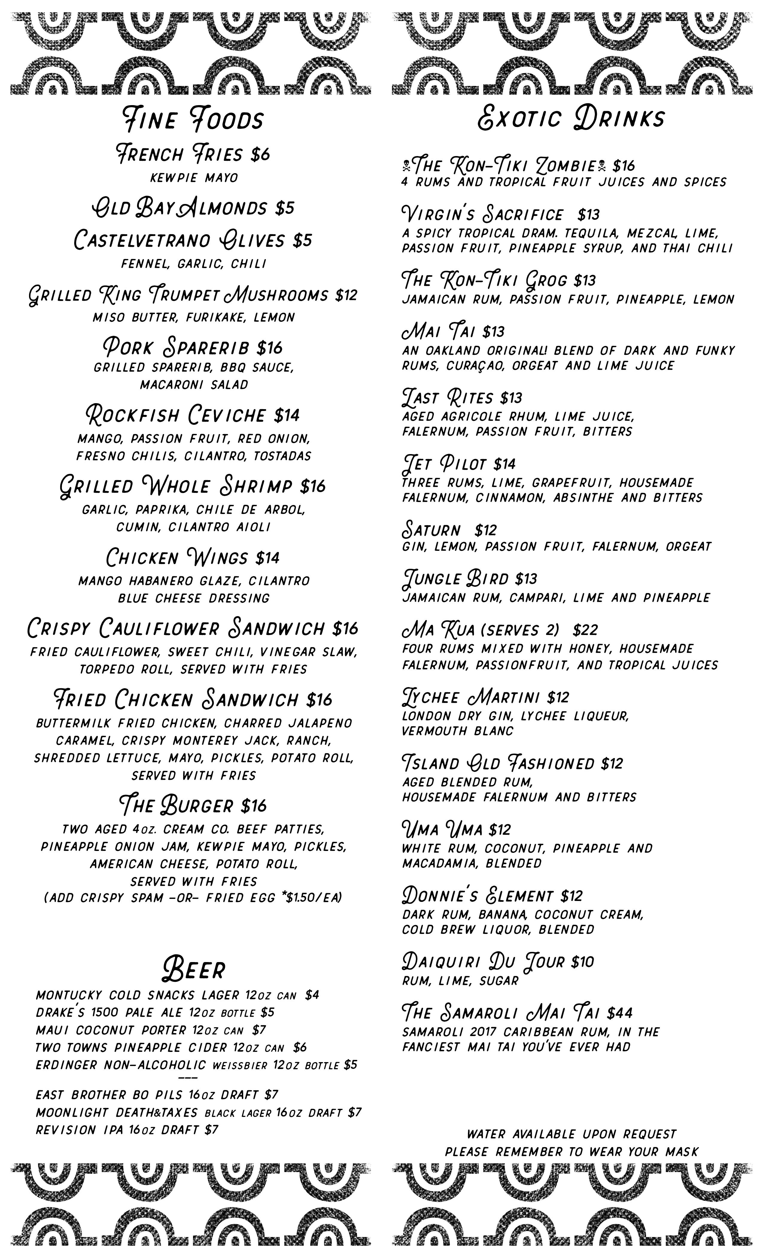 menu of food and drinks